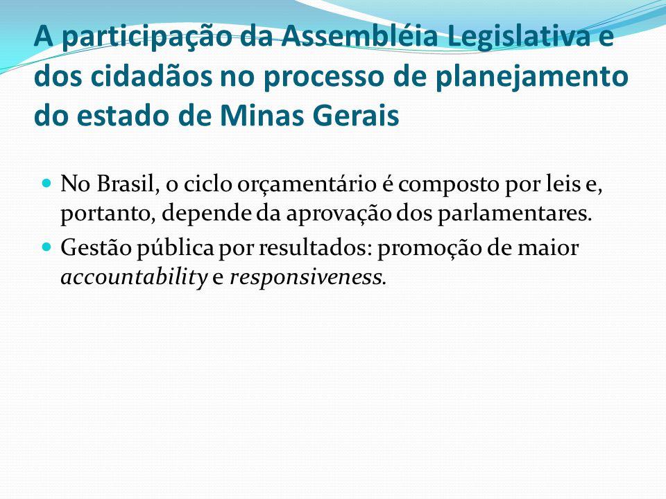 A participação da Assembléia Legislativa e dos cidadãos no processo de planejamento do estado de Minas Gerais
