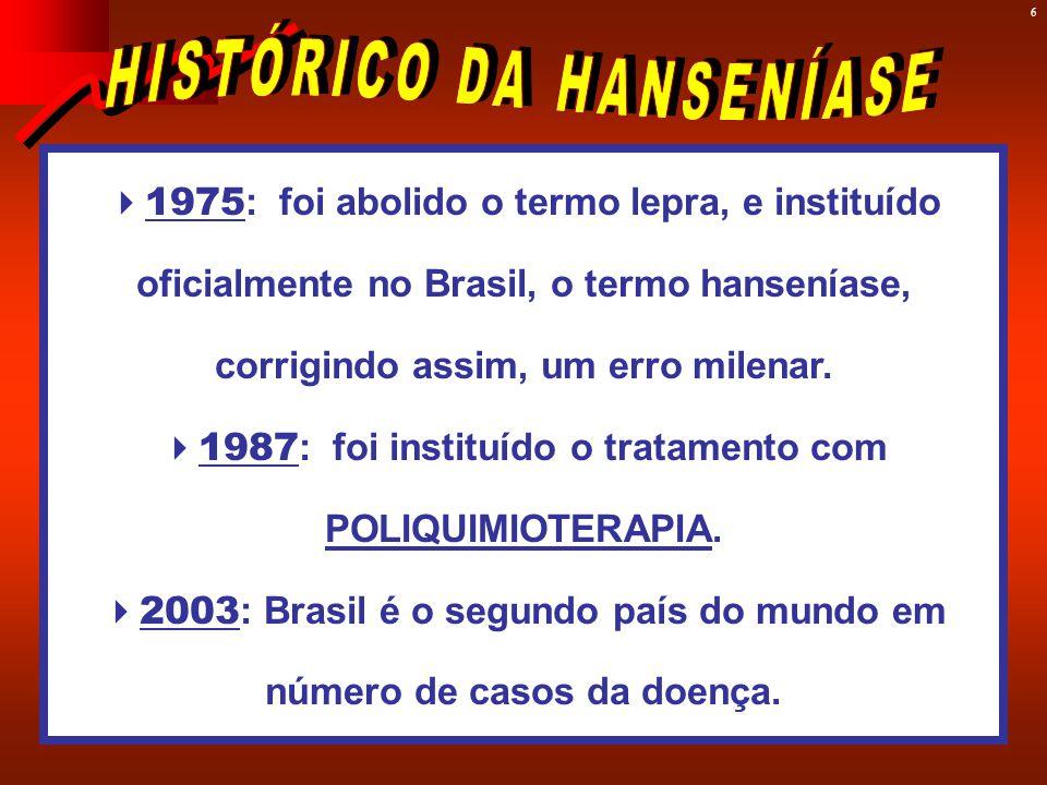 SITUAÇÃO EPIDEMIOLÓGICA DA HANSENÍASE NO MUNDO - 2003