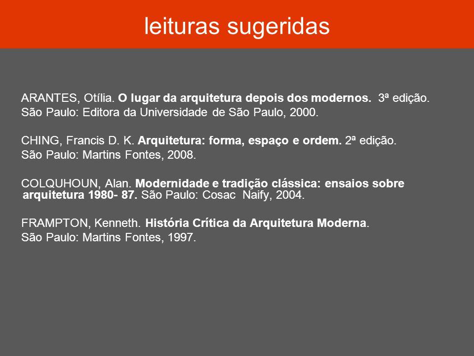 leituras sugeridas ARANTES, Otília. O lugar da arquitetura depois dos modernos. 3ª edição. São Paulo: Editora da Universidade de São Paulo, 2000.