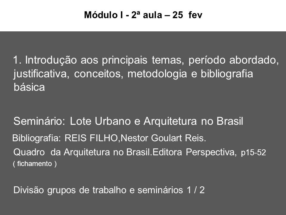 Seminário: Lote Urbano e Arquitetura no Brasil