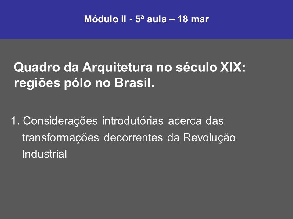 Quadro da Arquitetura no século XIX: regiões pólo no Brasil.