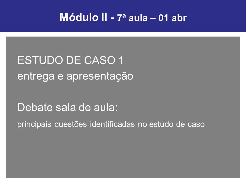Módulo II - 7ª aula – 01 abr ESTUDO DE CASO 1. entrega e apresentação.