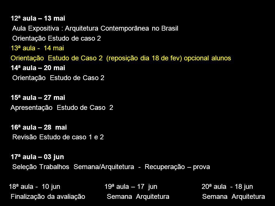 12ª aula – 13 mai Aula Expositiva : Arquitetura Contemporânea no Brasil. Orientação Estudo de caso 2.