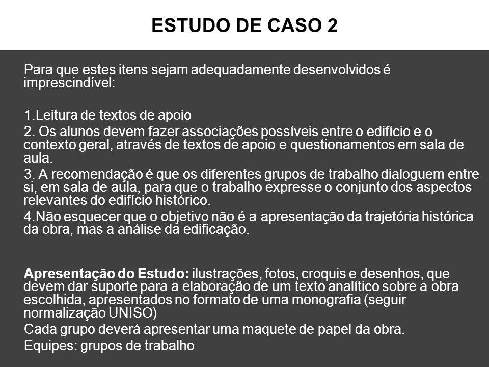 ESTUDO DE CASO 2 Para que estes itens sejam adequadamente desenvolvidos é imprescindível: 1.Leitura de textos de apoio.