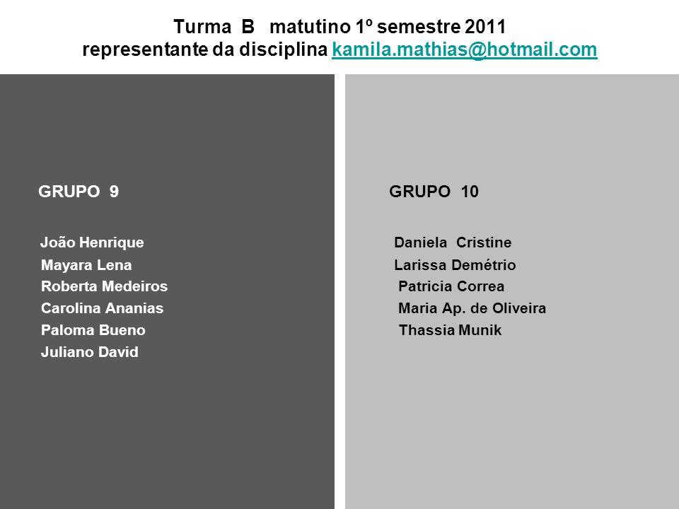 Turma B matutino 1º semestre 2011 representante da disciplina kamila