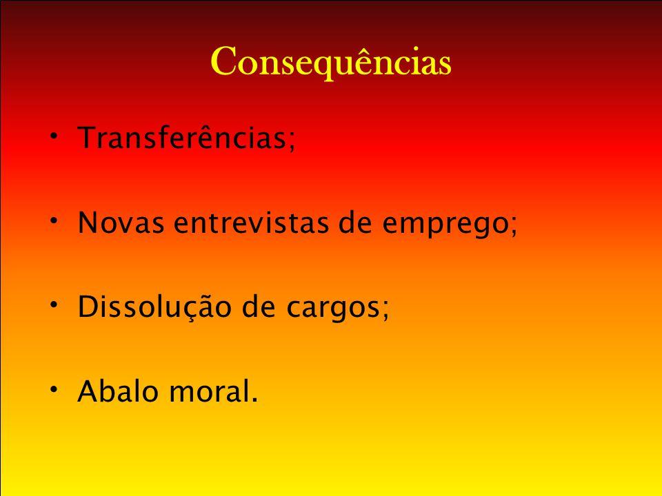 Consequências Transferências; Novas entrevistas de emprego;