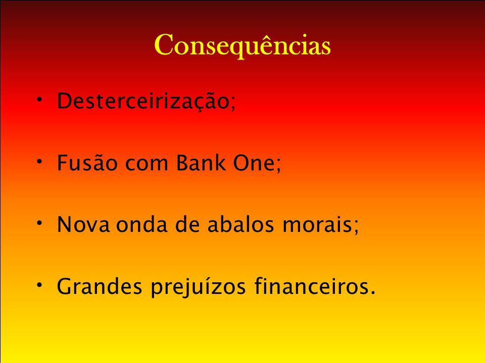 Consequências Desterceirização; Fusão com Bank One;