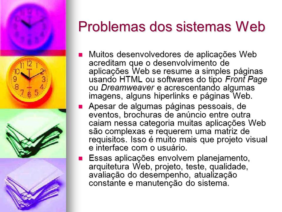 Problemas dos sistemas Web