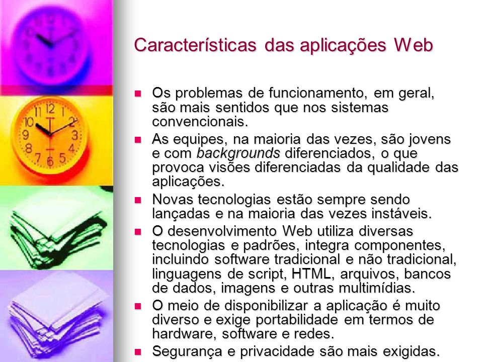 Características das aplicações Web