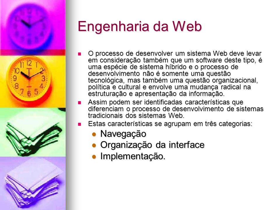 Engenharia da Web Navegação Organização da interface Implementação.