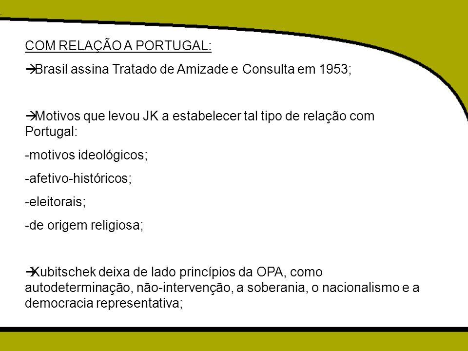 COM RELAÇÃO A PORTUGAL: