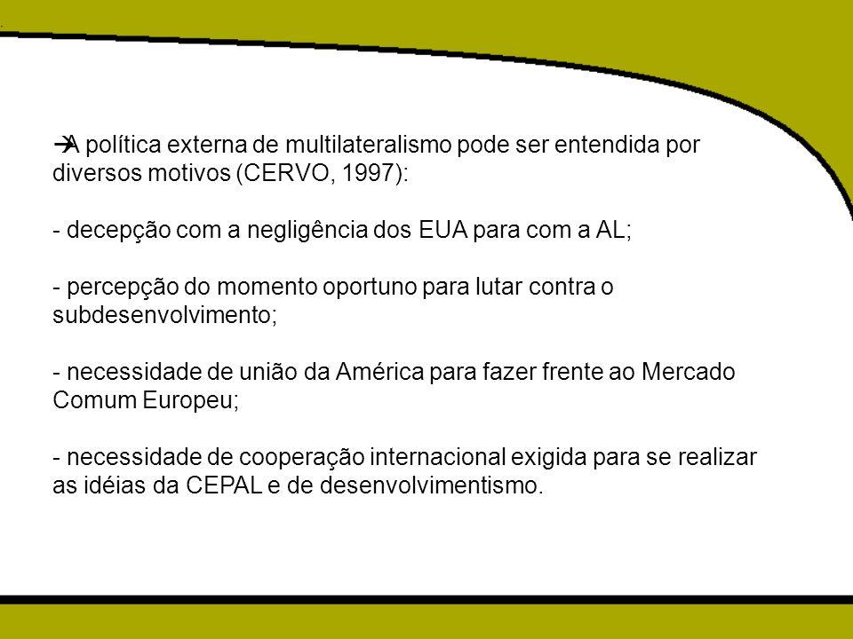A política externa de multilateralismo pode ser entendida por diversos motivos (CERVO, 1997):