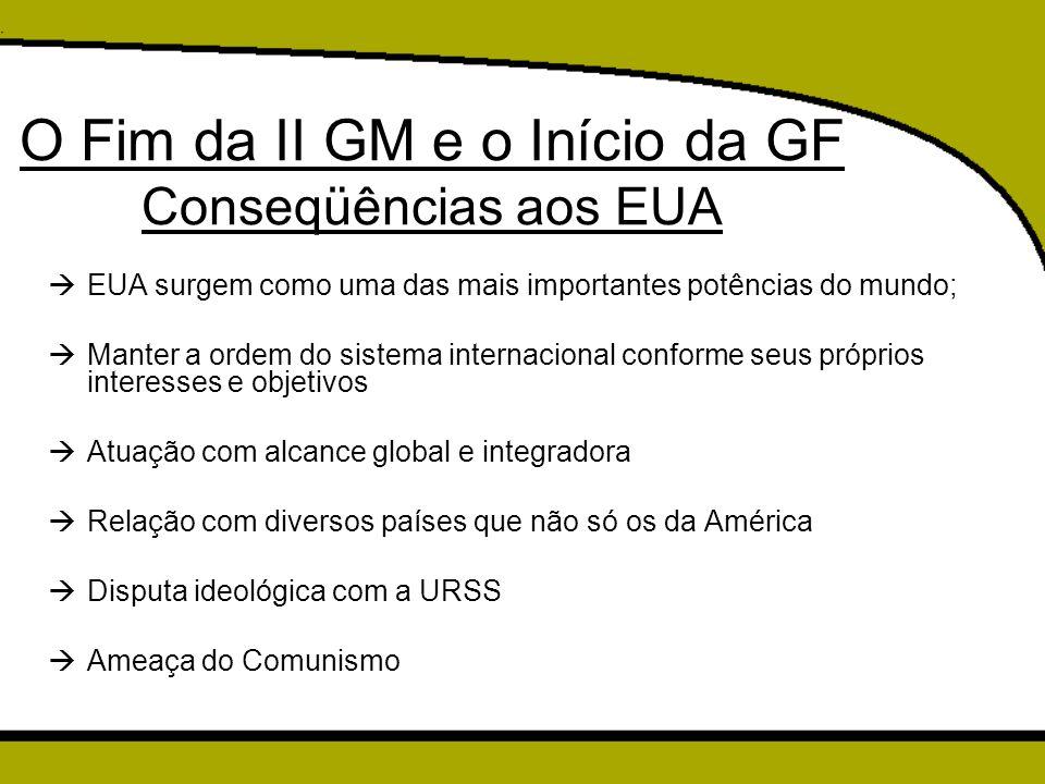 O Fim da II GM e o Início da GF Conseqüências aos EUA
