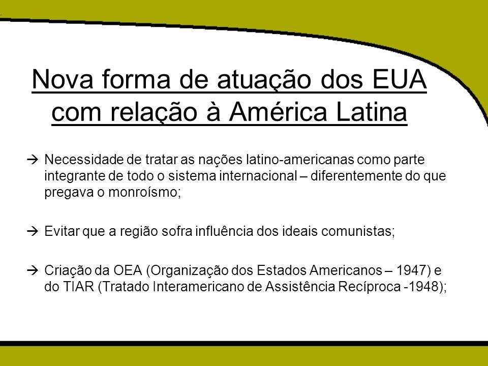 Nova forma de atuação dos EUA com relação à América Latina
