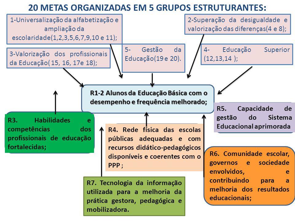 20 METAS ORGANIZADAS EM 5 GRUPOS ESTRUTURANTES:
