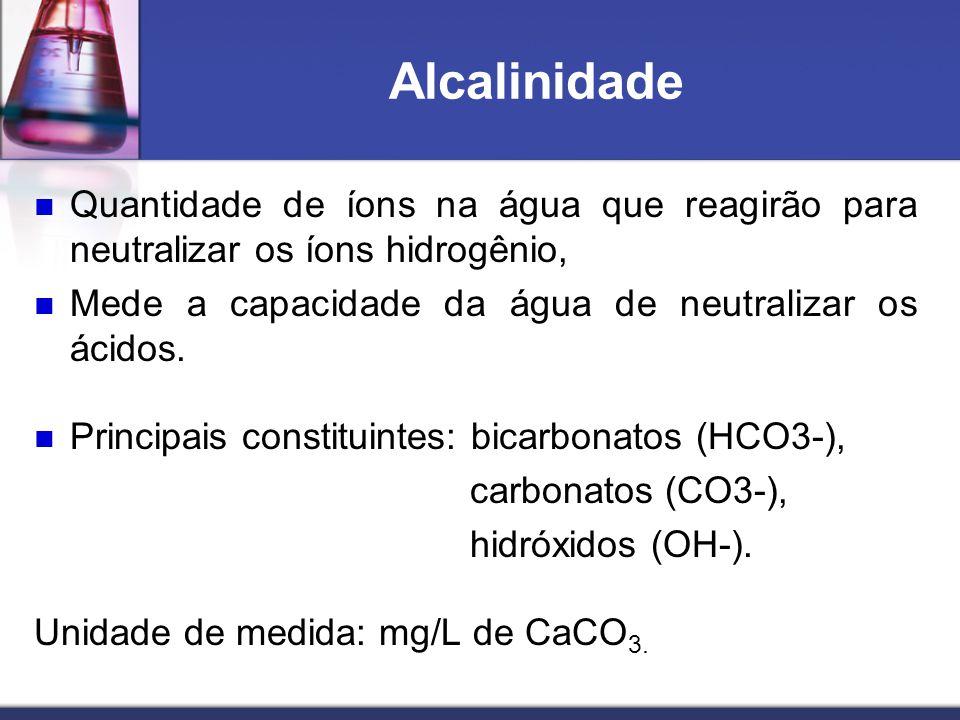 Alcalinidade Quantidade de íons na água que reagirão para neutralizar os íons hidrogênio, Mede a capacidade da água de neutralizar os ácidos.