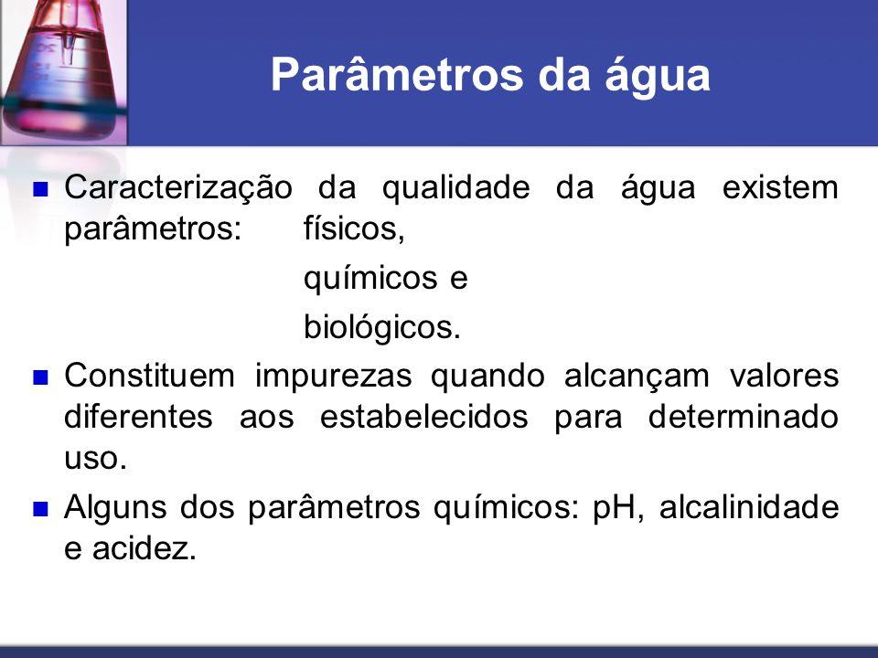Parâmetros da água Caracterização da qualidade da água existem parâmetros: físicos, químicos e. biológicos.