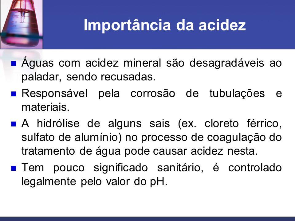 Importância da acidez Águas com acidez mineral são desagradáveis ao paladar, sendo recusadas. Responsável pela corrosão de tubulações e materiais.