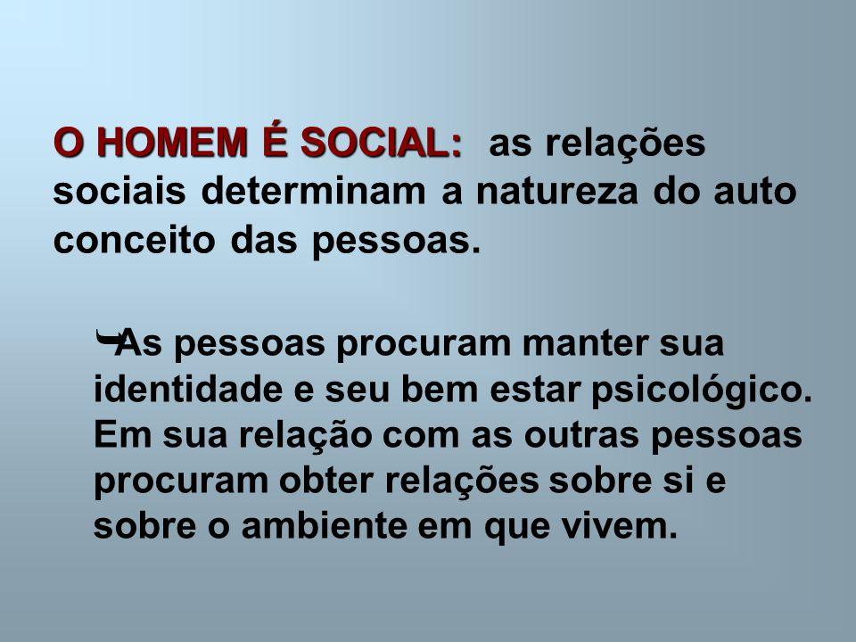 O HOMEM É SOCIAL: as relações sociais determinam a natureza do auto conceito das pessoas.