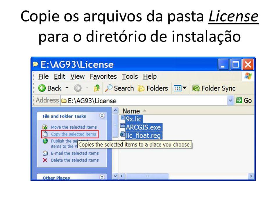 Copie os arquivos da pasta License para o diretório de instalação