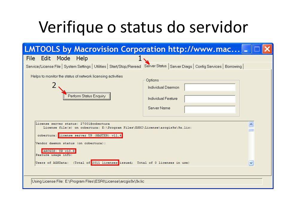 Verifique o status do servidor