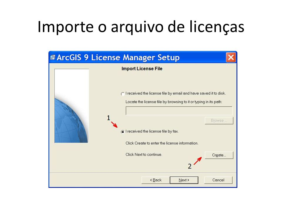 Importe o arquivo de licenças