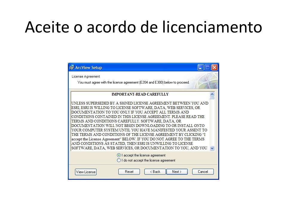 Aceite o acordo de licenciamento