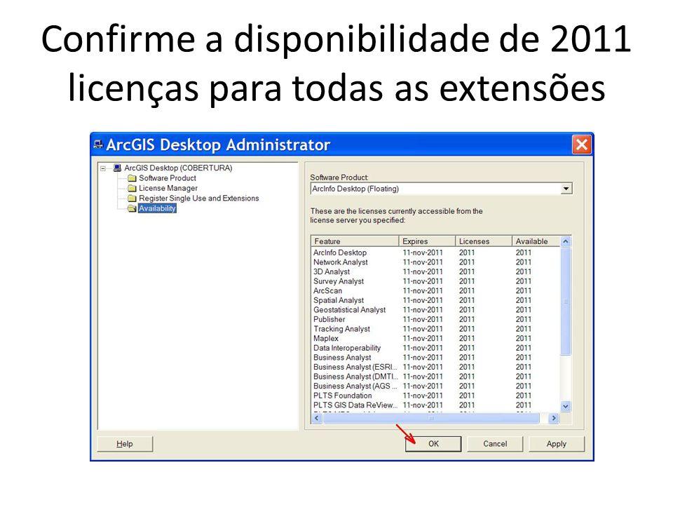 Confirme a disponibilidade de 2011 licenças para todas as extensões