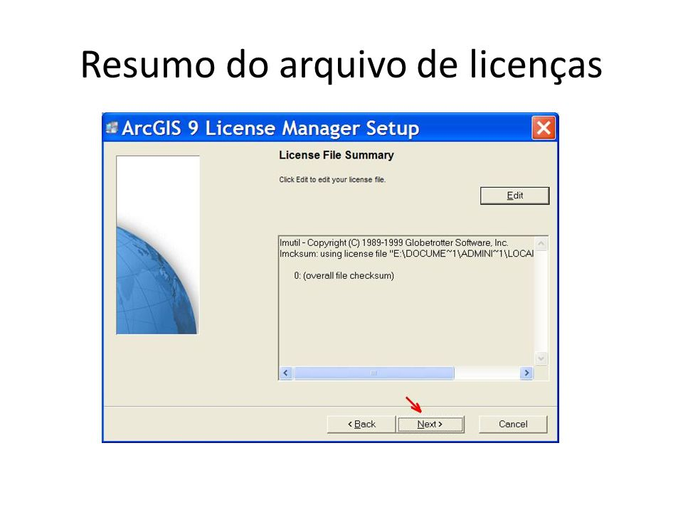 Resumo do arquivo de licenças