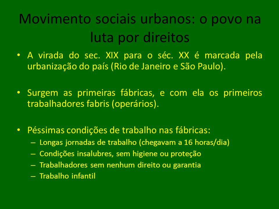 Movimento sociais urbanos: o povo na luta por direitos