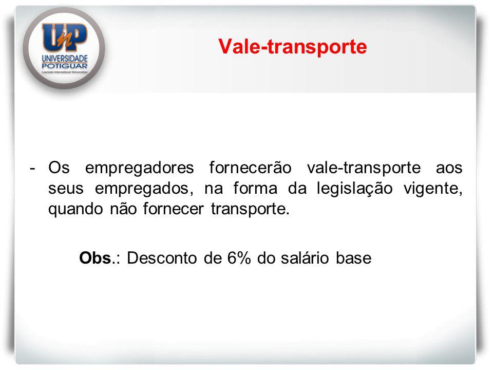 Vale-transporte - Os empregadores fornecerão vale-transporte aos seus empregados, na forma da legislação vigente, quando não fornecer transporte.