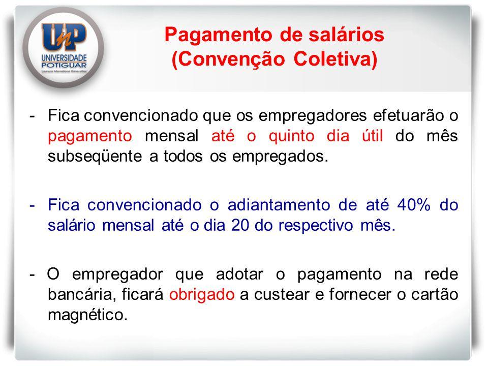 Pagamento de salários (Convenção Coletiva)