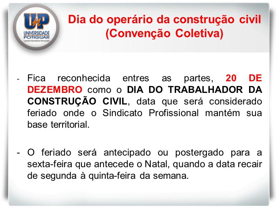 Dia do operário da construção civil (Convenção Coletiva)