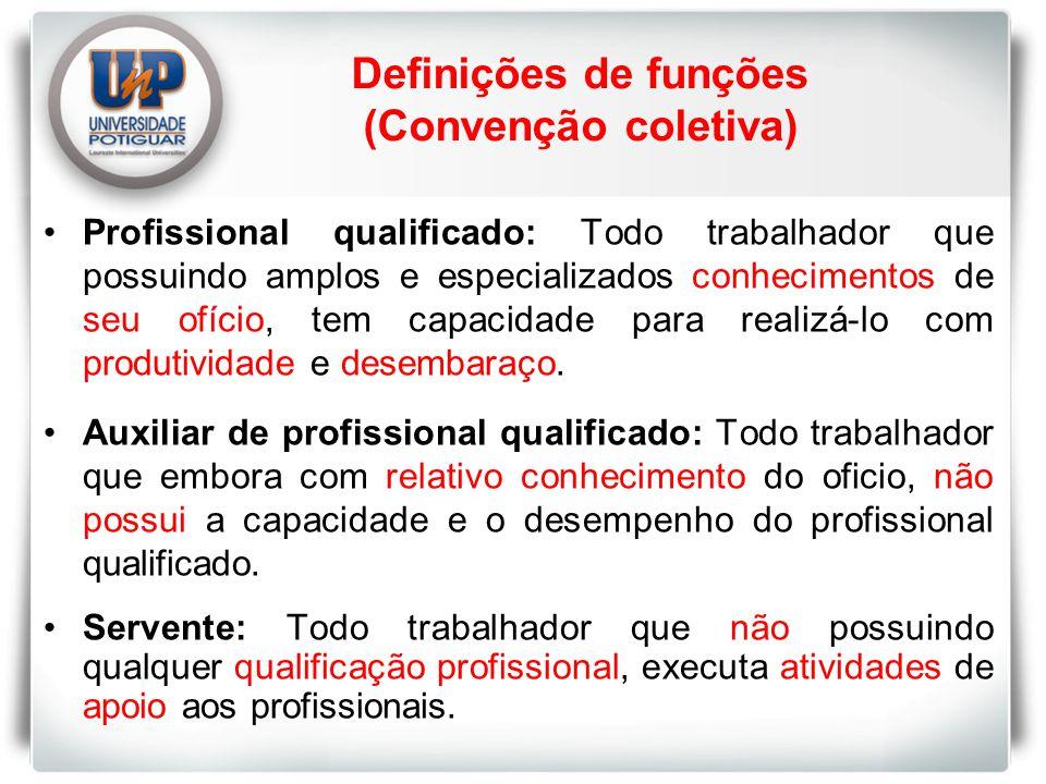 Definições de funções (Convenção coletiva)