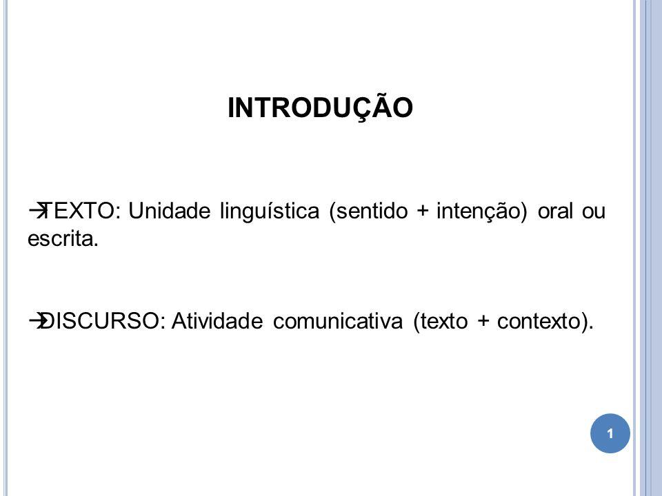 INTRODUÇÃO TEXTO: Unidade linguística (sentido + intenção) oral ou escrita.