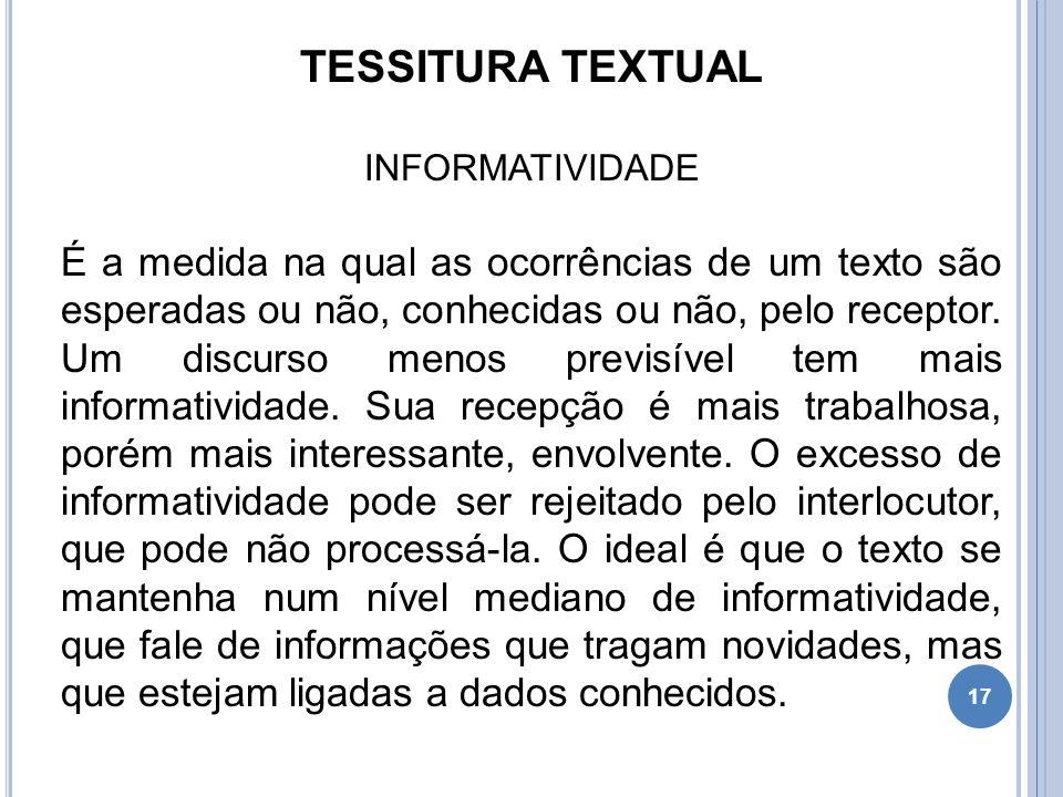TESSITURA TEXTUAL INFORMATIVIDADE.