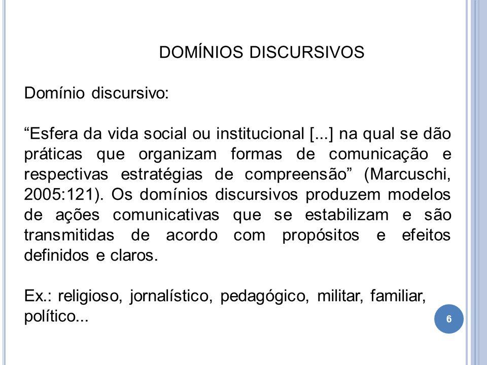 DOMÍNIOS DISCURSIVOS Domínio discursivo: