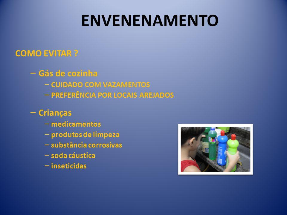 ENVENENAMENTO COMO EVITAR Gás de cozinha Crianças