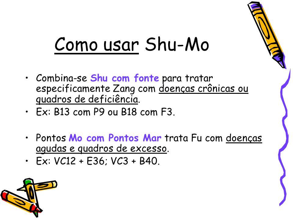 Como usar Shu-Mo Combina-se Shu com fonte para tratar especificamente Zang com doenças crônicas ou quadros de deficiência.