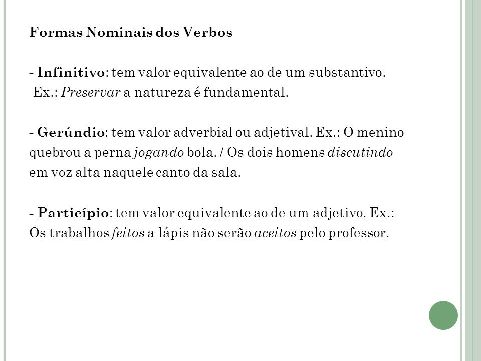 Formas Nominais dos Verbos