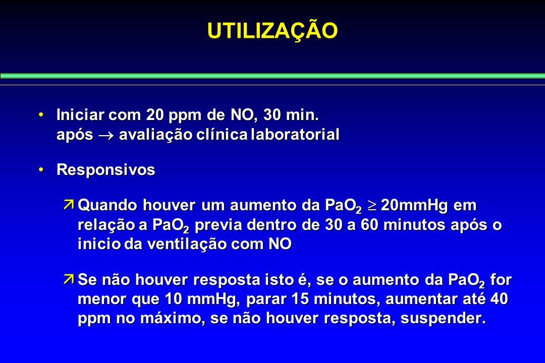 UTILIZAÇÃO Iniciar com 20 ppm de NO, 30 min. após  avaliação clínica laboratorial.