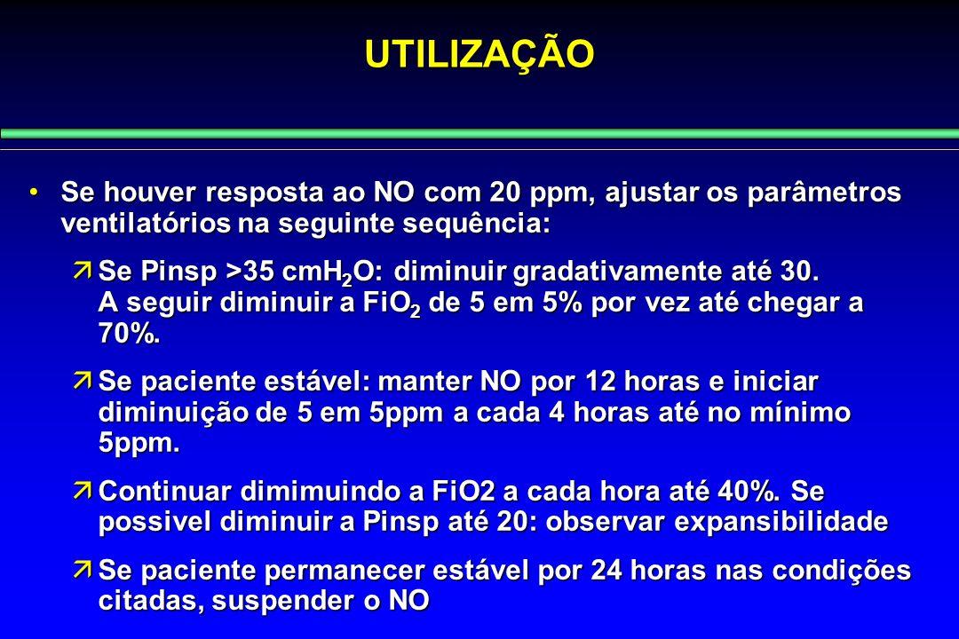UTILIZAÇÃO Se houver resposta ao NO com 20 ppm, ajustar os parâmetros ventilatórios na seguinte sequência: