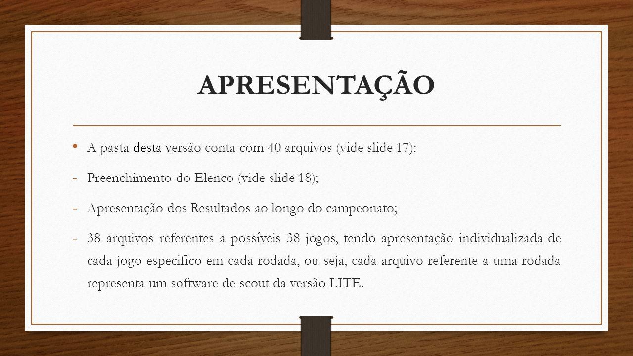 APRESENTAÇÃO A pasta desta versão conta com 40 arquivos (vide slide 17): Preenchimento do Elenco (vide slide 18);