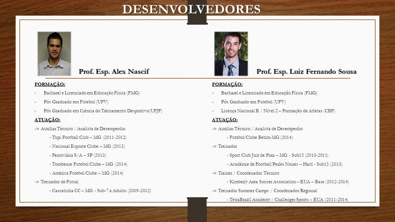 DESENVOLVEDORES Prof. Esp. Alex Nascif Prof. Esp. Luiz Fernando Sousa