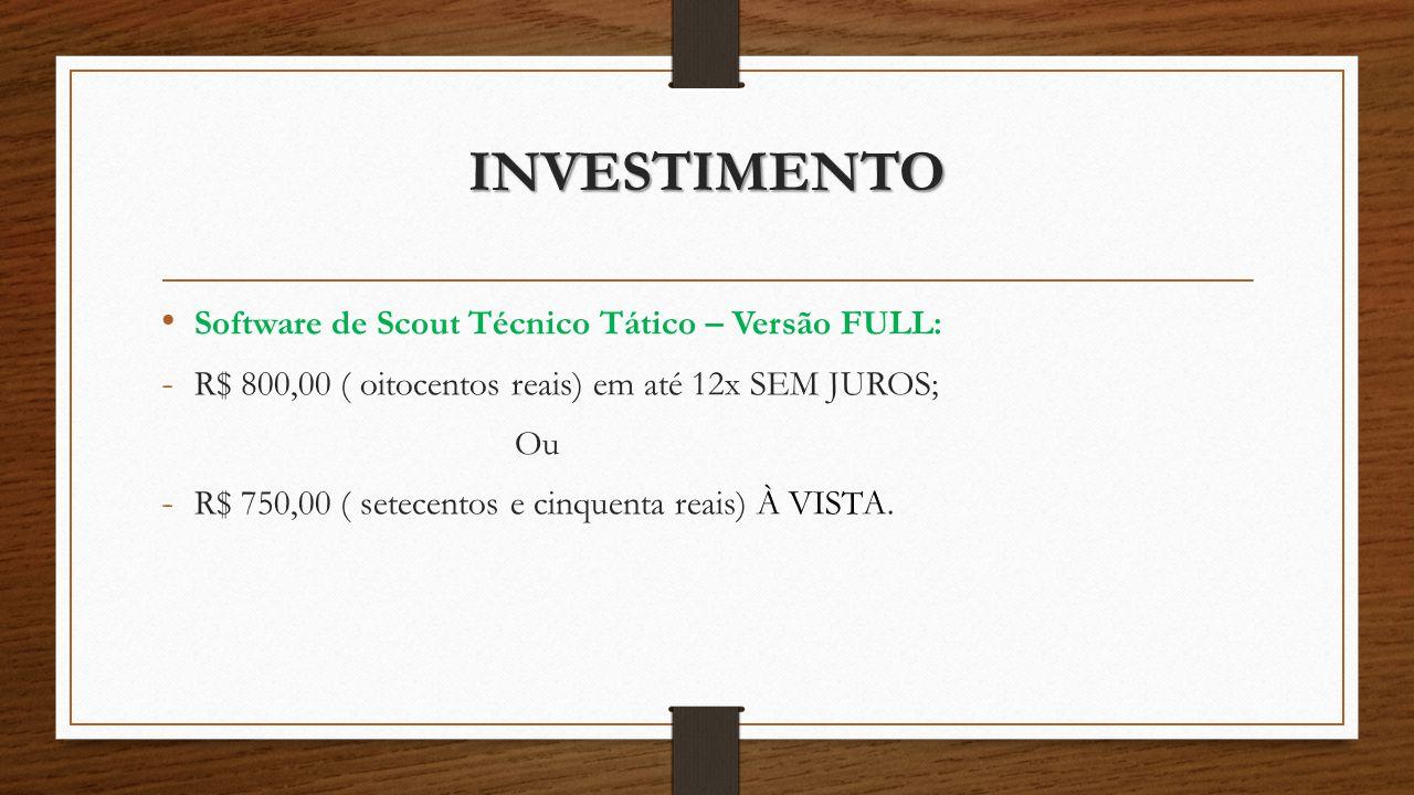 INVESTIMENTO Software de Scout Técnico Tático – Versão FULL:
