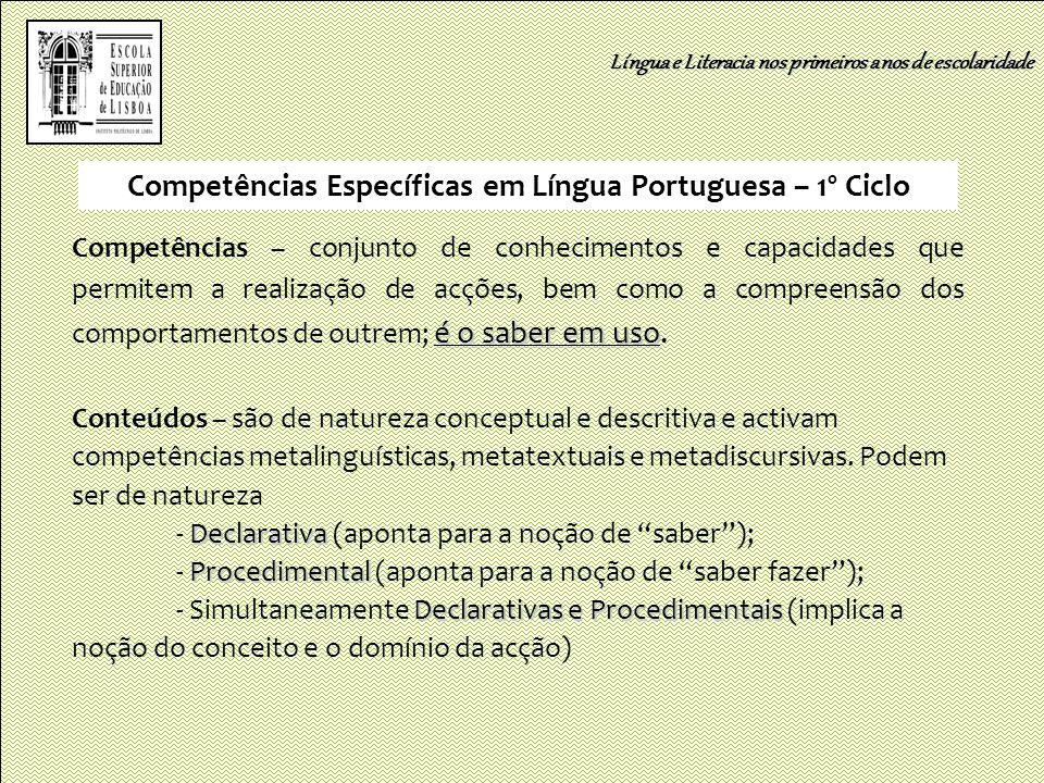 Competências Específicas em Língua Portuguesa – 1º Ciclo