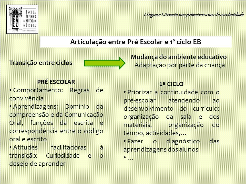 Articulação entre Pré Escolar e 1º ciclo EB