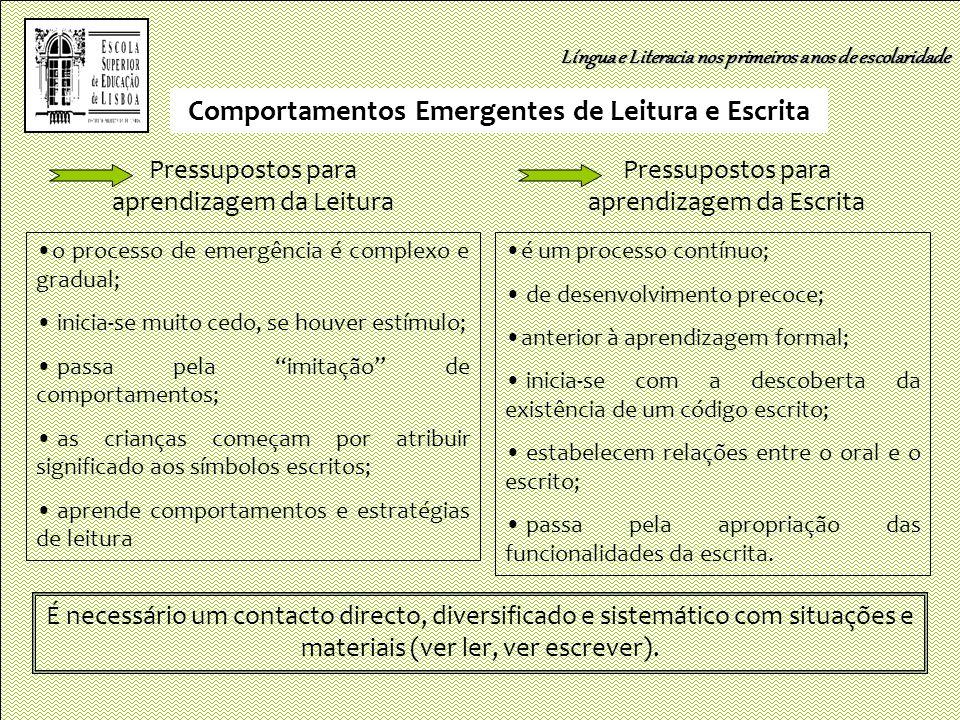Comportamentos Emergentes de Leitura e Escrita