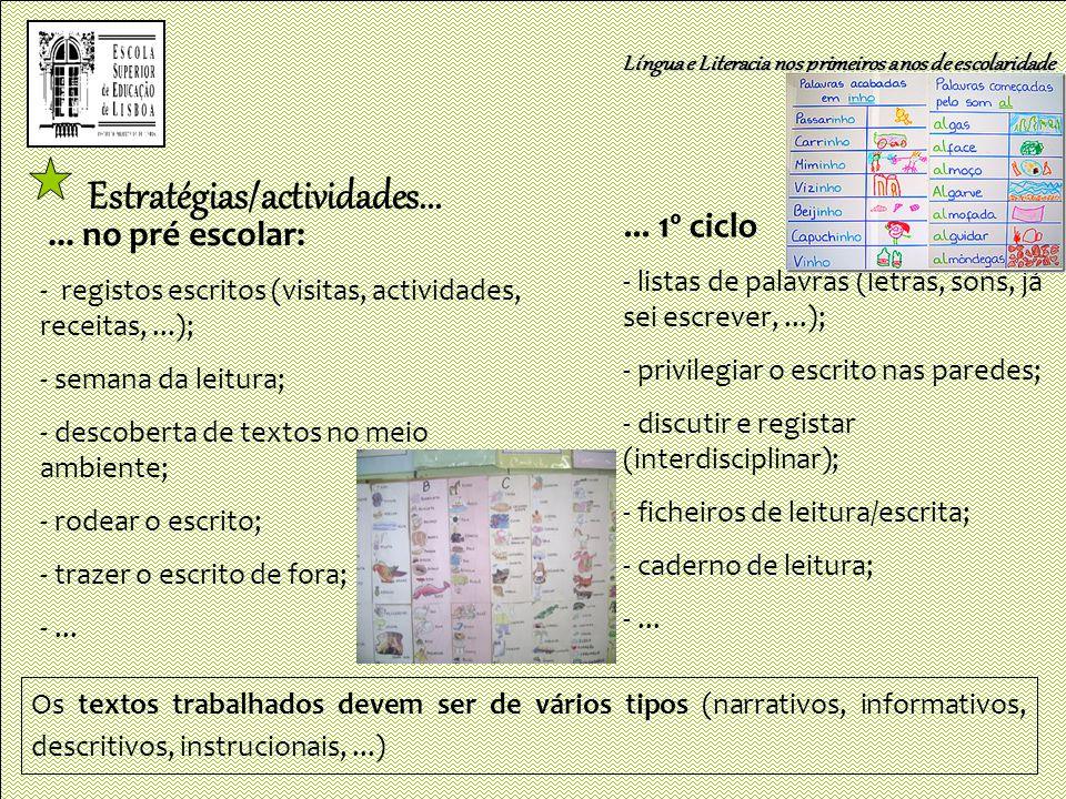 Estratégias/actividades...