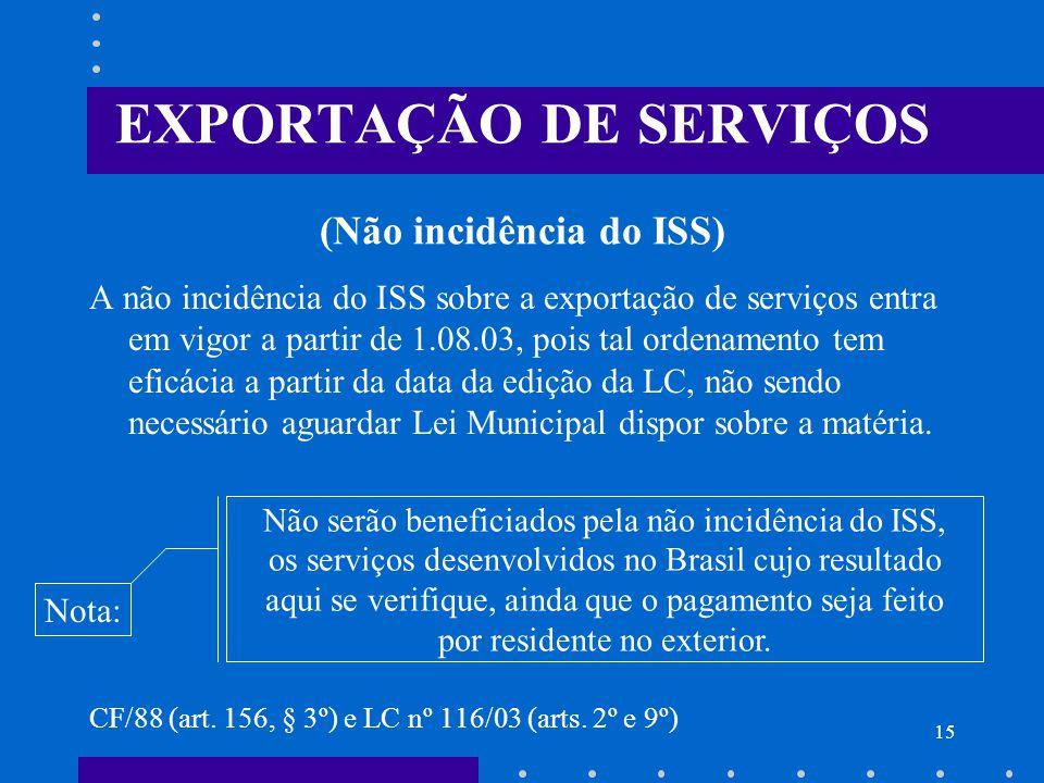 EXPORTAÇÃO DE SERVIÇOS (Não incidência do ISS)